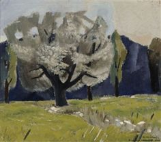 'White Poplar' (1947) by Finnish artist Otto Mäkilä (1904-1955). Oil on cardboard, 28 x 32.5 cm. collection: Ateneum Art Museum, Helsinki. via Mutual Art