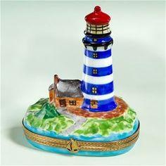 Limoges Blue White Lighthouse Box The Cottage Shop