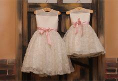 flower girl chiffon blush dresses | Ivory Chiffon Flower Girl Dress