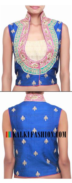 Buy online at: http://www.kalkifashion.com/blue-jacket-blouse-embellished-in-zari-and-sequence-only-on-kalki.html Free shipping worldwide.
