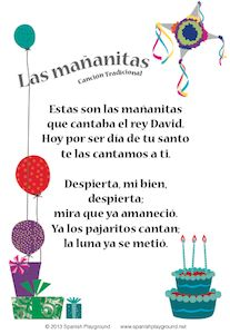 Happy Birthday Song in Spanish with Printable Lyrics - Two designs, great for singing along. http://www.spanishplayground.net/happy-birthday-song-in-spanish-printable-lyrics/