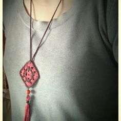 """My """"granny square"""" necklace !!!!.....I'm so excited!!!....I love it !!!....."""