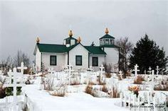 Russian Orthodox church and cemetery in Ninilchik, Alaska