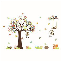 lovely monkeys tree wall stickers for kids room home decoration animals adesivo de parede cartoon pvc decals mural art Owl Wall Decals, Nursery Wall Stickers, Removable Wall Stickers, Kids Stickers, Wall Stickers Murals, Wall Murals, Room Stickers, Sticker Vinyl, Kids Room Wall Art