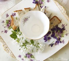 I love Spring. it is my favorite season. it is sweet & full of promise. Spring shows that all things are possibl. British Tea Time, Bella Rose, Lilac, Purple, Rose Cottage, Violets, Teacups, Spring, Tableware