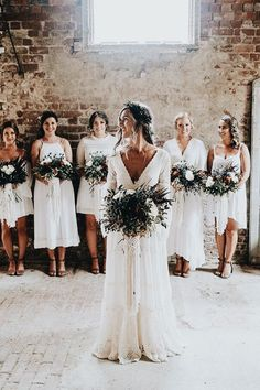 All white dresses doesn't look so bad in this rustic setting!