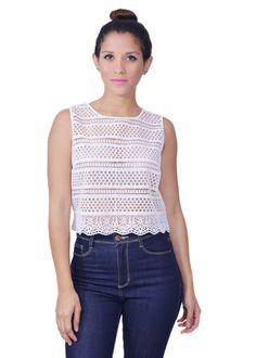 Lace Front White Top | lufashion's