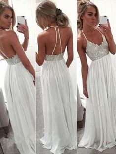 Sexy Formal Dresses, Open Back Prom Dresses, Formal Gowns, White Prom Dresses, Deb Dresses, Grad Dresses, Elegant Dresses, Party Dresses, White Evening Gowns