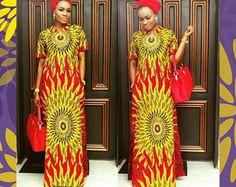 Nini cold shoulder Ankara Maxi dress