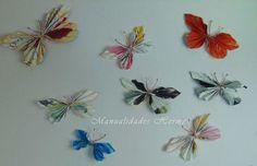 Mariposas hechas con papel de revista