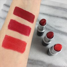 Beauty Products Are My Cardio - High End Beauty & Affordable Drugstore Finds Mac Red Lipsticks, Mac Lipstick Swatches, Mac Eyeshadow, Makeup Swatches, Mac Lady Danger, Mac Russian Red, Mac Ruby Woo, Perfect Red Lips, Mac Makeup