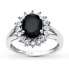 Onyx Ring 1/15 ct tw Diamonds 10K White Gold