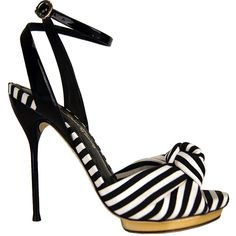 Black White Stripe 'Petra' Ankle Strap Heel ($308) found on Polyvore