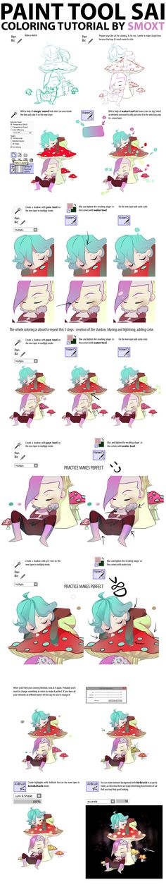 Paint tool sai coloring tutorial by Smoxt on deviantART