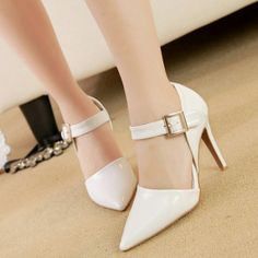 2014 New White PU Pointed Closed Toe Stiletto High Heel Ankle Strap Pumps Pointed Toe Heels, High Heels Stilettos, Pumps, Wholesale Shoes, Wholesale Clothing, Affordable Clothes, Cheap Clothes, Cheap Shoes Online, Online Clothing Stores