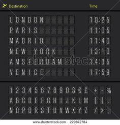 Airport departure arrival destination mechanical counter board template illustration. Vector EPS10.