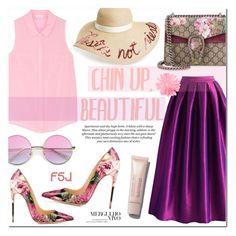 """Chin Up, Beautiful ~ FSJ #12"" by alexandrazeres ❤ liked on Polyvore featuring Chicwish, Splendid, Gucci, Eugenia Kim, H&M, Purpleskirt, rosepattern, fsjshoes and fsj"