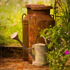 Rusty milk churns