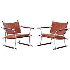 Pair of Jens Quistgaard Rosewood and Leather Arm Chairs ca1960's