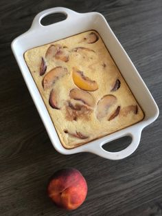 Baked Peach Custard - A Bee Bakes Summer Desserts, Easy Desserts, Dessert Recipes, Baked Peach, Custard, Sour Cream, Food Print, Sweets, Desert Recipes