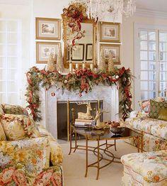 Sala de Estar com Decoração para o Natal