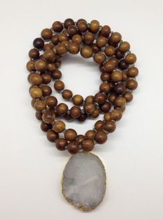 Wood and Labradorite Beaded Necklace with Druzy Pendant by Goldenstrand Jewelry