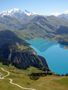 View of the Mont Blanc from over the Lac de Roselend, Savoie, France