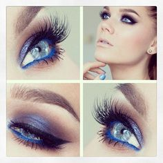 Purple Glitter Eye Makeup for Blue Eyes