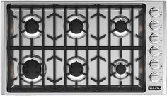 Viking VGSU5366BSS 36 Inch Gas Cooktop with 6 Sealed Burners, 18,000 BTU, ScratchSafe Continuous Grates, Child-Proof Knob Control and SureSpark Ignition System: Natural Gas