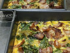 Bacon & Kale Breakfast Casserole   OAMC from Once A Month Meals. Freezer Meal. 3 c kale, 8 bacon, 12 eggs. Seasoning of choice. Bake at 375 for 20-25 min. Cool, cut, freeze, wrap.