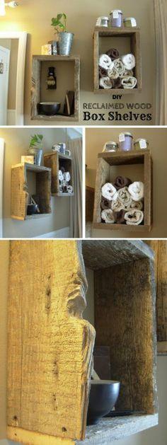 Easy to build DIY Reclaimed Wood Box Shelves for rustic bathroom decor Industry Standard Design
