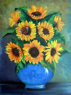 Sunflowers In Blue Painting