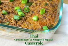 Thai Ground Beef Spaghetti Squash Casserole - My Heart Beets