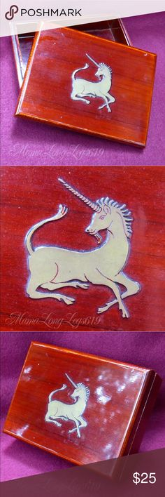"""Vtg 1980s Unicorn Treasure Trinket Stash Box Ultra adorable vintage jewelry trinket stash box made in Korea featuring a silver unicorn on the top. It's about 5"""" by 7"""", and made of red cherry colored wood. Stash your favorite collectibles in here!  Good vintage condition. May show some very light wear, but no major flaws.  From a smoke-free home. I love to work deals, so if you're interested in other items of mine, feel free to bundle and we'll work out a good price! Vintage Handmade Other"""