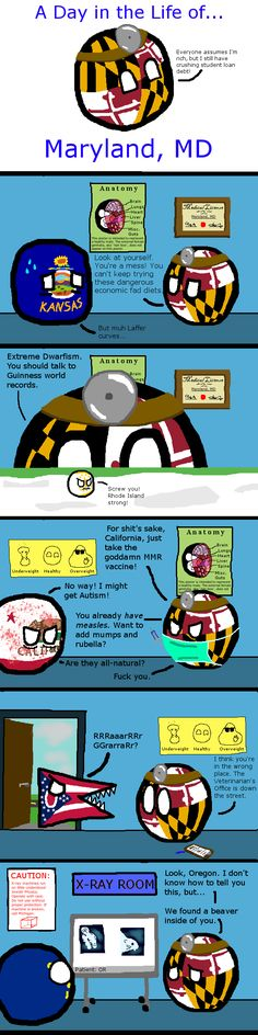 A Day in the Life of Dr. Maryland, MD ( USA: Maryland, Kansas, Rhode Island, California, Ohio, Oregon ) by Spacetime Inspector #stateball #polandball #countryball