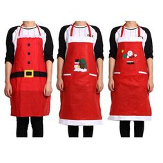 2 Pockets Christmas Red Apron Kitchen Shoulder Strap Sleeveless Home Aprons Christmas Dinner Party Aprons Christmas Accessory