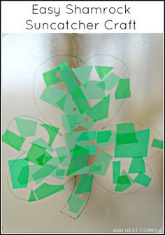 Easy fine motor shamrock craft for St. Patrick's Day from And Next Comes L
