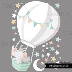 Vinilo bebé - Animales volando en globo. Luna blanca Baby Room Themes, Baby Boy Rooms, Love Wallpaper, Baby Prints, Nursery Wall Art, Diy Painting, Kids Bedroom, Wall Stickers, Balloons