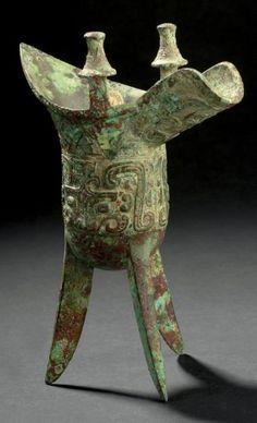 Verseuse tripode en bronze, jue. Chine, fin de la dynastie Shang, XIe siècle av. J.-C.