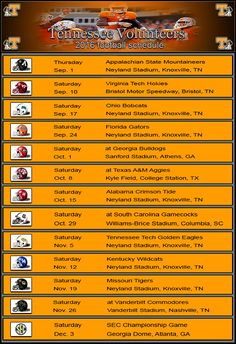 Tennessee Vols Football Schedule 2016