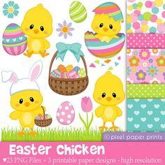 Easter Chicken - Digital paper and clip art set