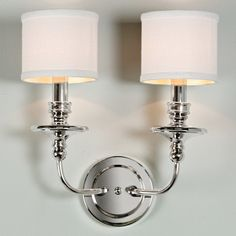Springfield Sconce with Linen Drum Shades 2 Light polished_nickel $130