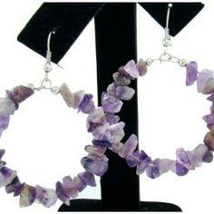 Genuine Semi-Precious Amethyst Hoop Earrings www.silvermoonbay.net #semipreciousstone #amethyst #hoopearrings #affordablejewelry