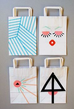 Create unique gift bags using washi tape.