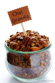 Chai-Spiced Granola - Gimme Some Oven Breakfast Recipes, Snack Recipes, Breakfast Ideas, Detox Recipes, Cooking Recipes, Gimme Some Oven, Second Breakfast, Chips And Salsa, Granola Bars
