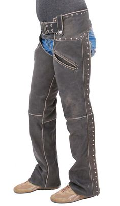 Studded Trim Vintage Brown Leather Chaps with Pant Pockets for Women #CA2801RDN
