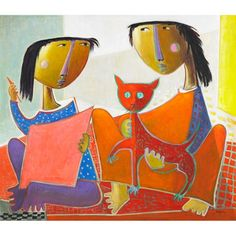 Two girls with a cat by Angel Botello