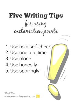 How to avoid overusing exclamation points. Great tips for self-editing!