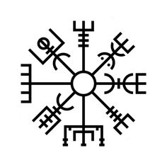 "Icelandic Runic Staves Vegvisir - Literally a ""guide post"" or ""sign post"". Vegvisir is an Icelandic Magical Stave intended to help the bearer find his or her way through rough weather. Vegvisir was drawn on a person's forehead to prevent that individual from becoming lost."