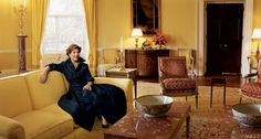 First Lady Laura Bush in the White House private quarters.